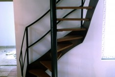 Metal staircase with solid wood stairs